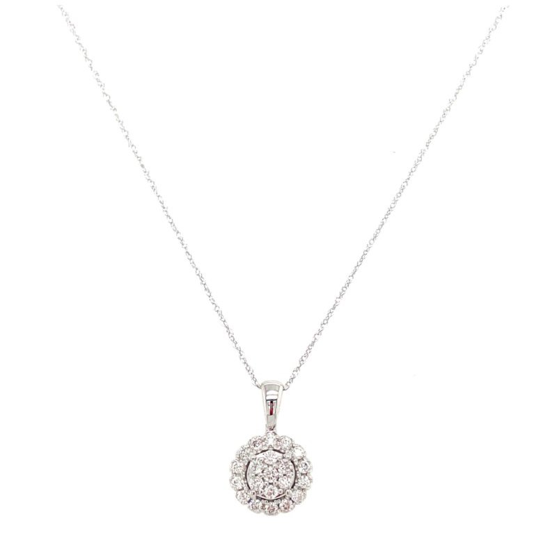 Lauray's Signature Collection White Gold Diamond Cluster Necklace
