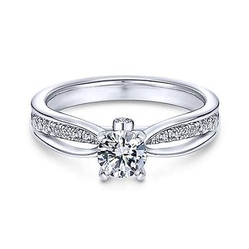 White Gold Round Split Shank Diamond Semi Mounting