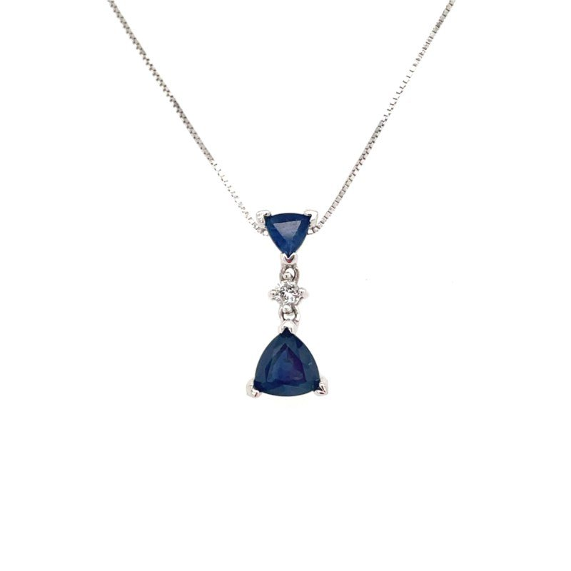 Lauray's Signature Collection Blue Sapphire and Diamond Necklace