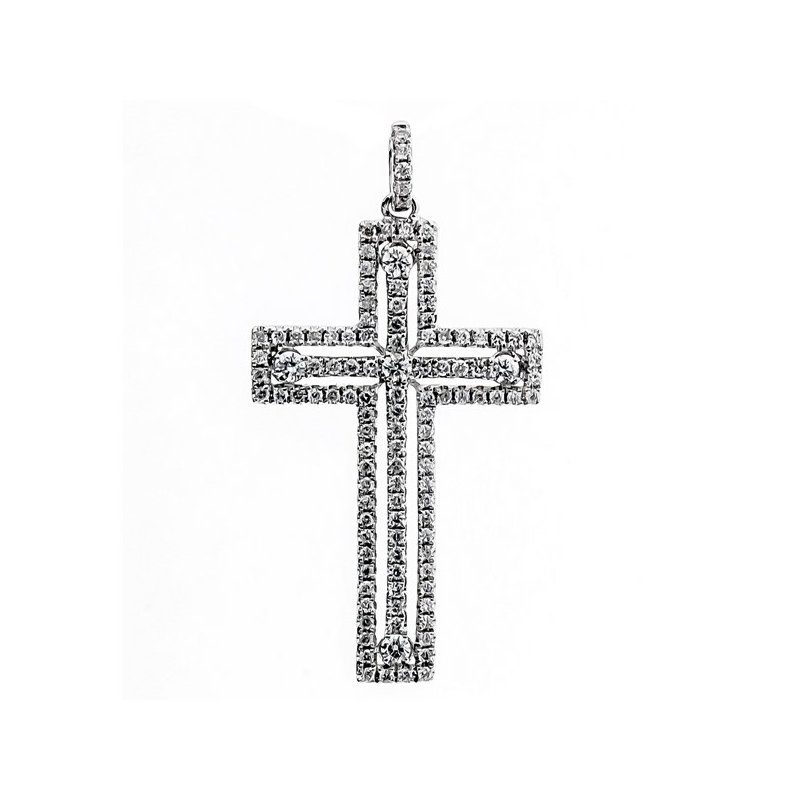 Lauray's Signature Collection White Gold Diamond Cross Pendant