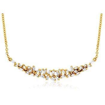 Yellow Gold Diamond Bar Necklace