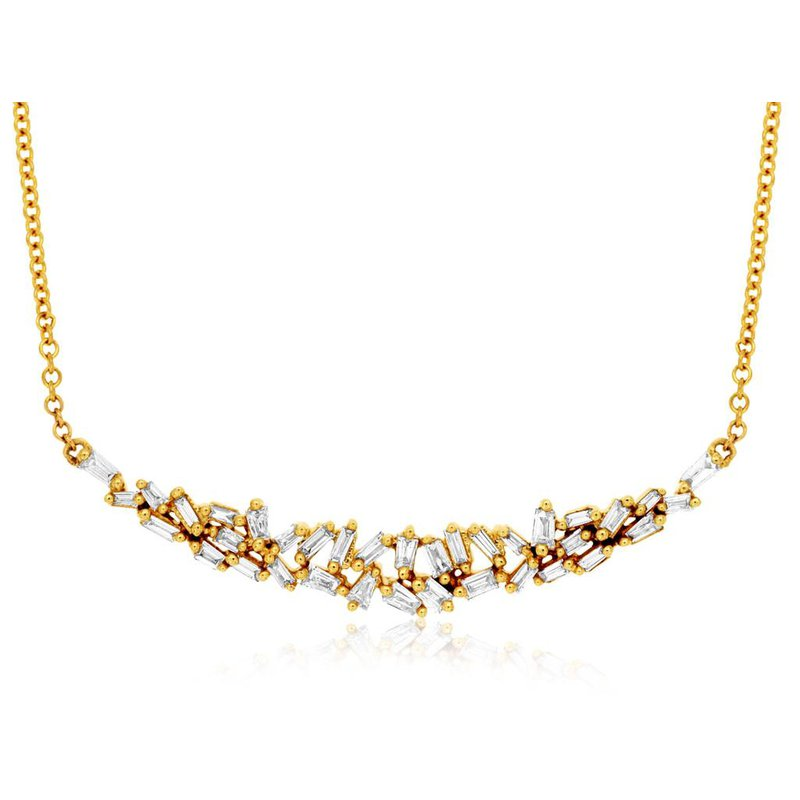Lauray's Signature Collection Yellow Gold Diamond Bar Necklace