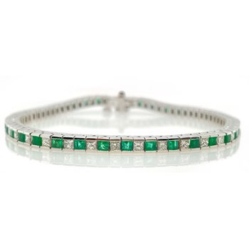 White Gold Emerald and Diamond Tennis Bracelet