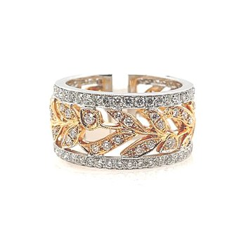 Two Tone Gold Diamond Band