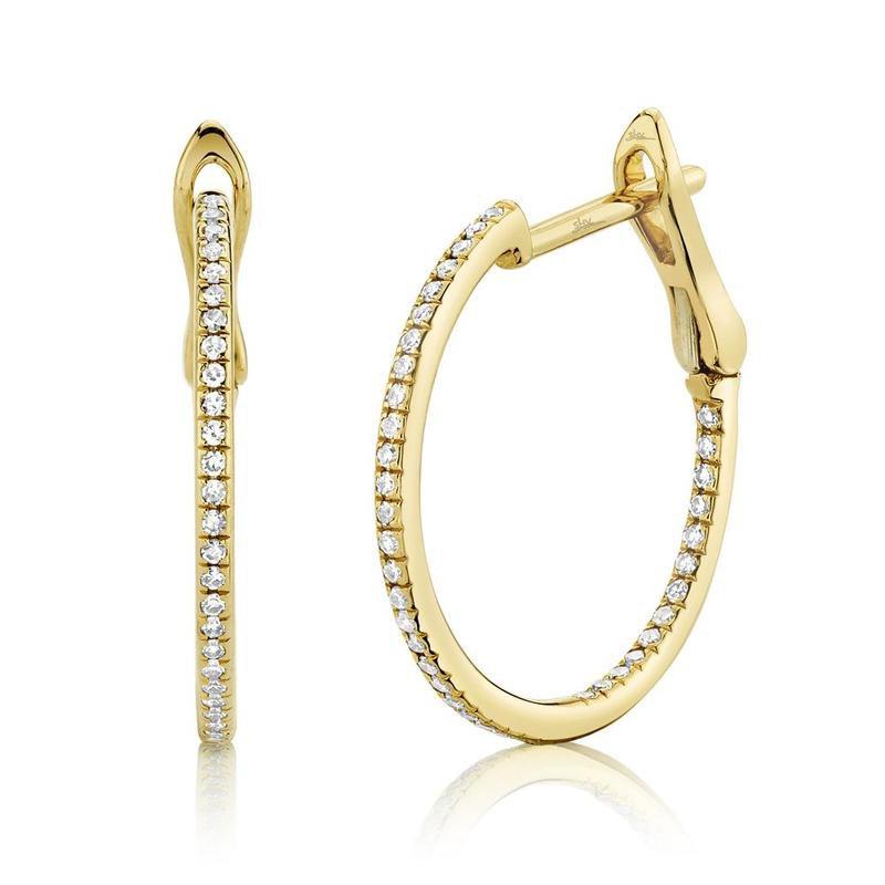 Shy Creation Yellow Gold Diamond Hoop Earrings