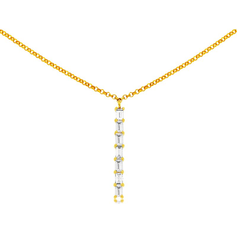 Lauray's Signature Collection Yellow Gold Baguette Diamond Necklace