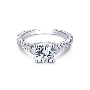 White Gold Round Diamond Engagement Ring Mounting