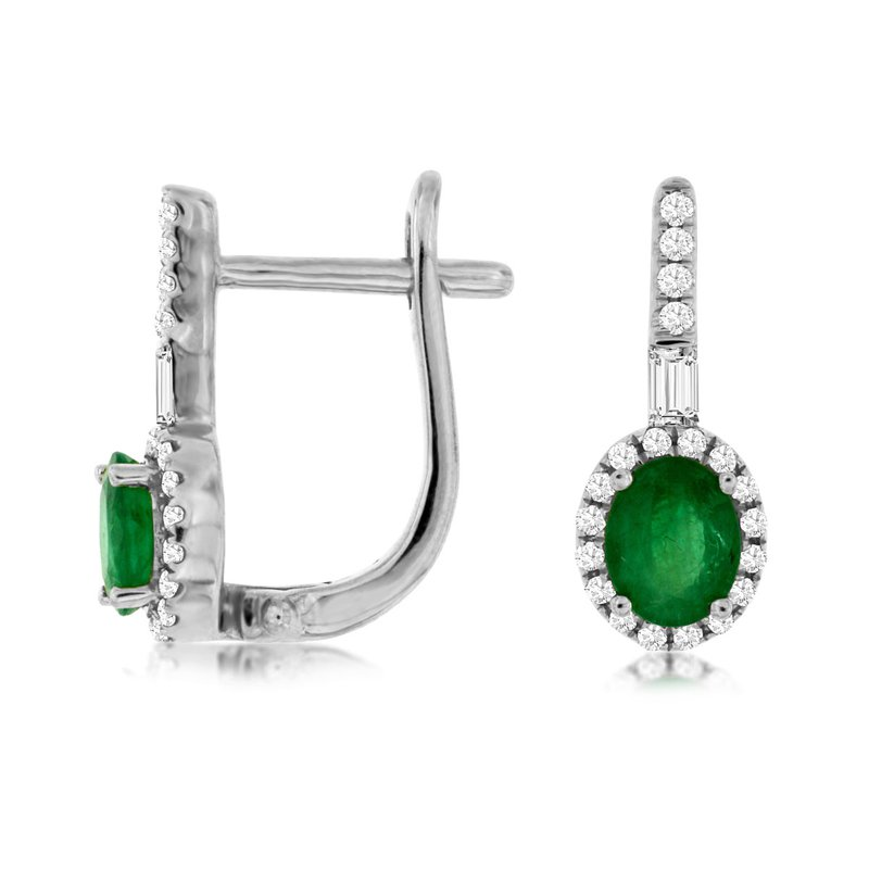 Lauray's Signature Collection White Gold Diamond and Emerald Earrings