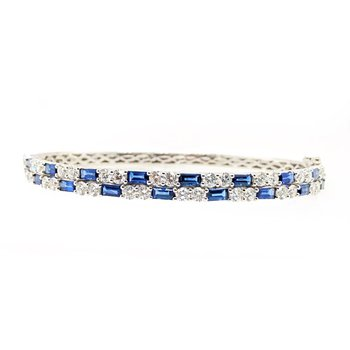 White Gold Blue Sapphire and Diamond Bangle