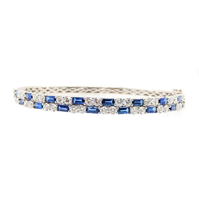 Lauray's Signature Collection White Gold Blue Sapphire and Diamond Bangle