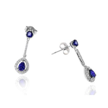 White Gold Tanzanite and Diamond Earrings