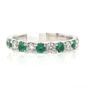 White Gold Emerald and Diamond Band