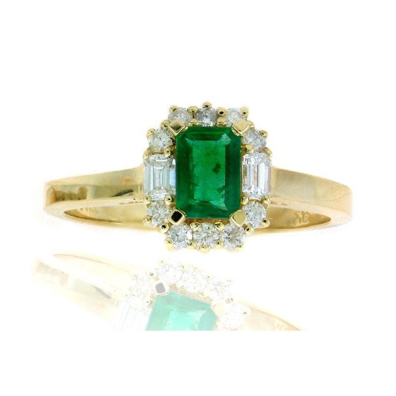 Lauray's Signature Collection Yellow Gold Emerald and Diamond Ring