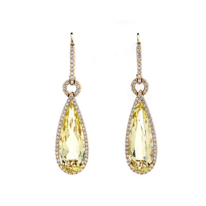 Lauray's Signature Collection Yellow Gold Lemon Quartz Earrings