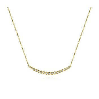 Curved Bar Necklace With Bezel Set Round Diamonds