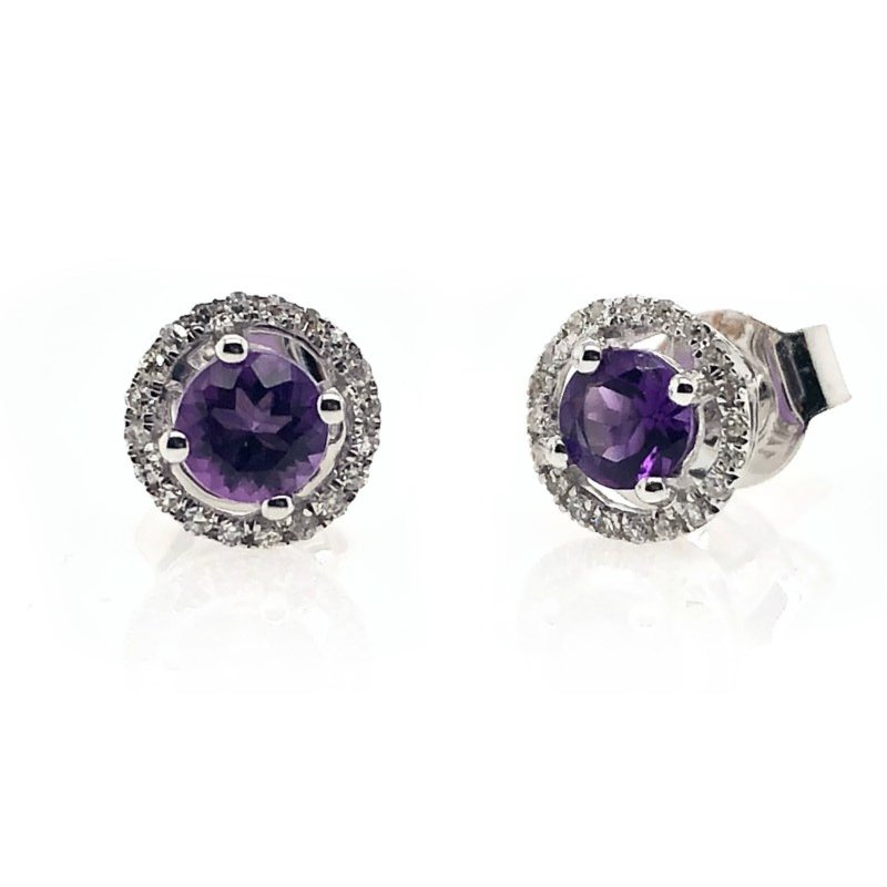 Lauray's Signature Collection February Birthstone Amethyst Studs