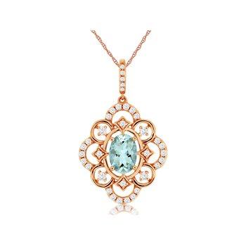 Rose Gold Aquamarine and Diamond Necklace
