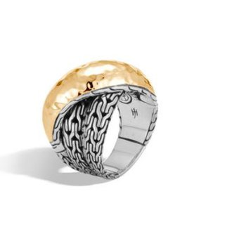Classic Chain Hammered Overlap Ring