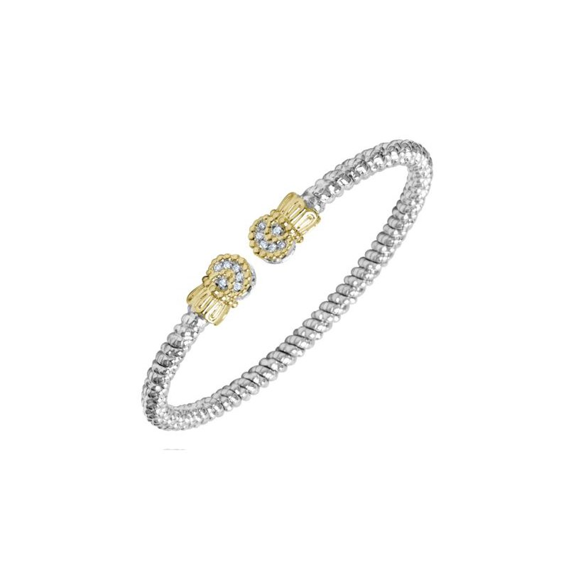 Alwand Vahan Yellow Gold and Sterling Silver Diamond Open Bangle Bracelet