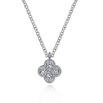White Gold Diamond Clover Pendant Necklace