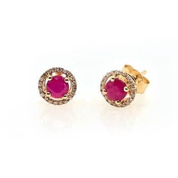 July Birthstone Ruby Studs