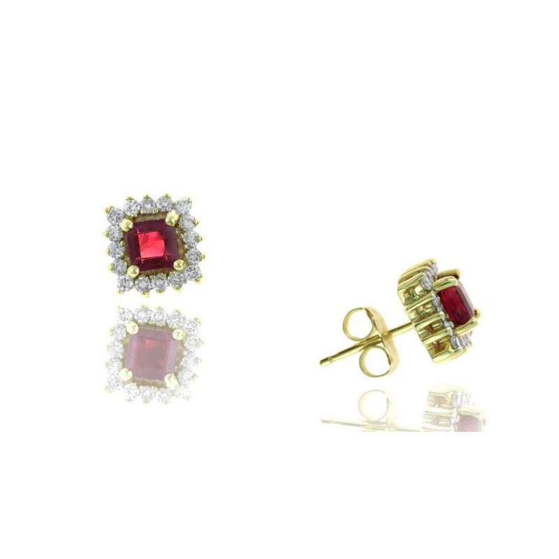 Lauray's Signature Collection Ruby and Diamond Stud Earrings