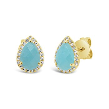 Yellow Gold Diamond & Amazonite Studs