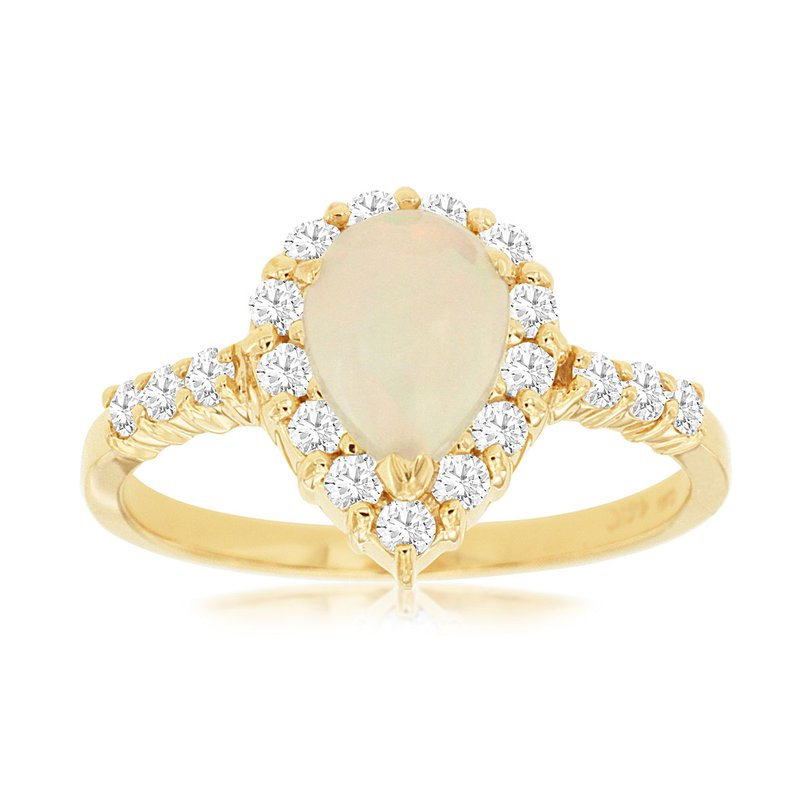 Lauray's Signature Collection Yellow Gold Pear Shape Opal and Diamond Ring