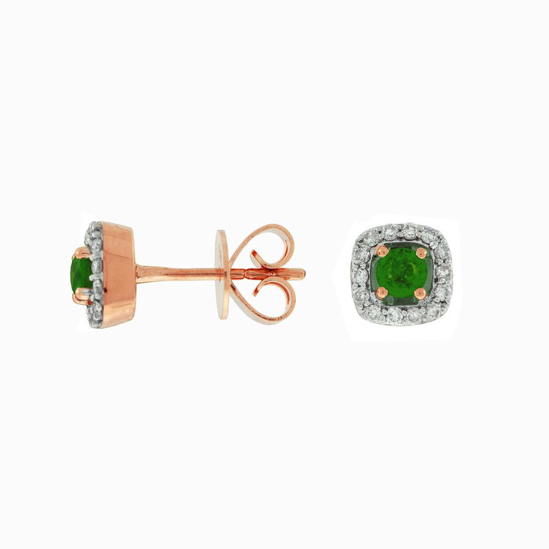 Lauray's Signature Collection Rose Gold Emerald and Diamond Stud Earrings