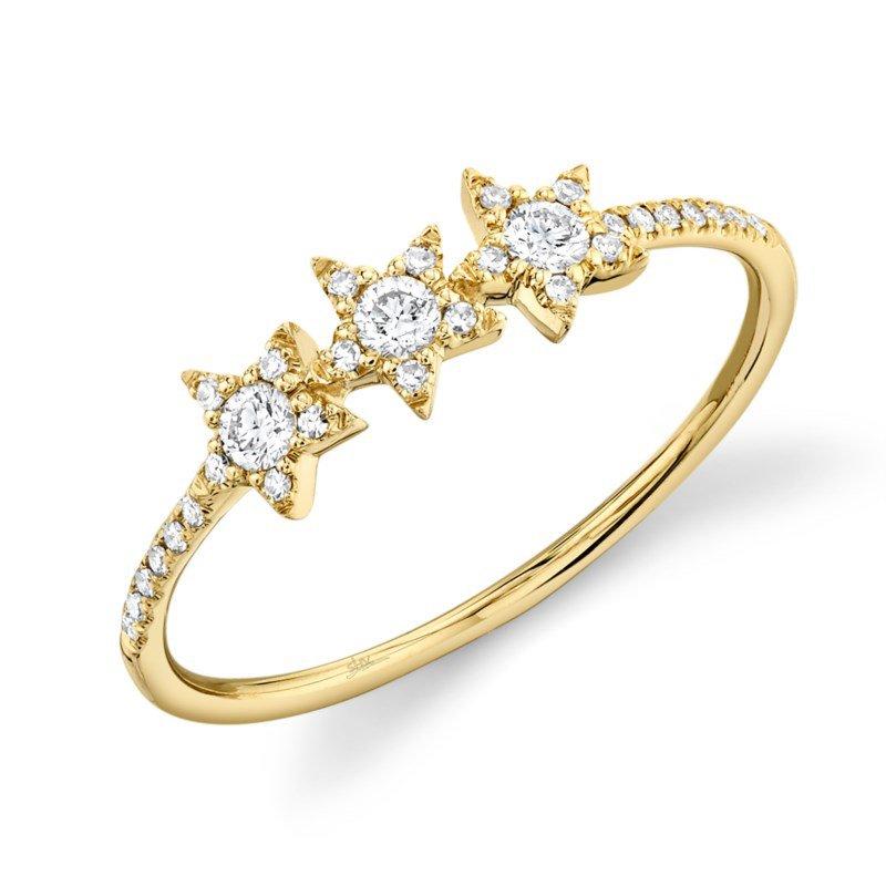 Shy Creation Yellow Gold Diamond Star Ring