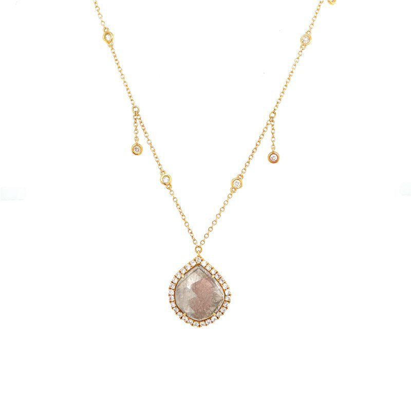 Lauray's Signature Collection Yellow Gold Diamond Slice Necklace