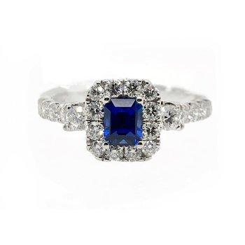 White Gold Sapphire Diamond Ring