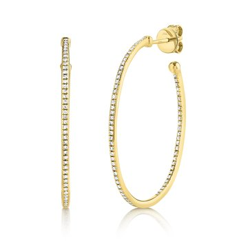14 Karat Yellow Gold Diamond Oval Hoop Earrings