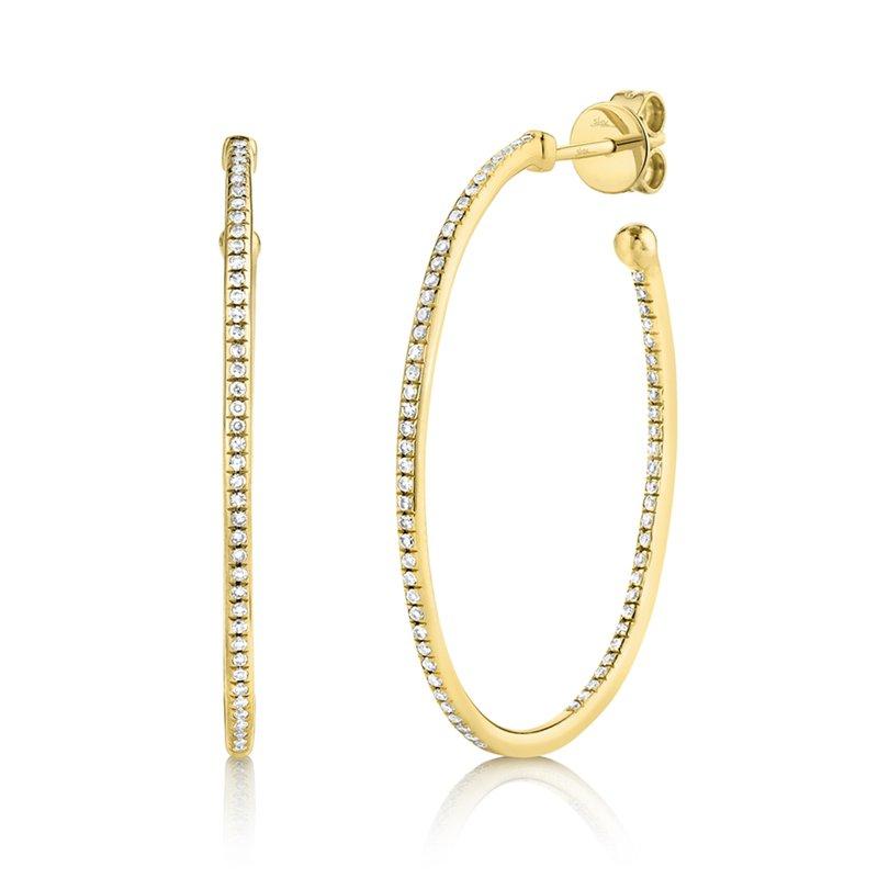 Shy Creation 14 Karat Yellow Gold Diamond Oval Hoop Earrings