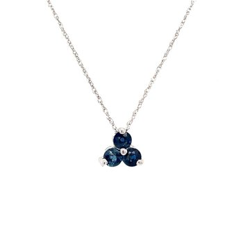 White Gold Blue Sapphire Necklace