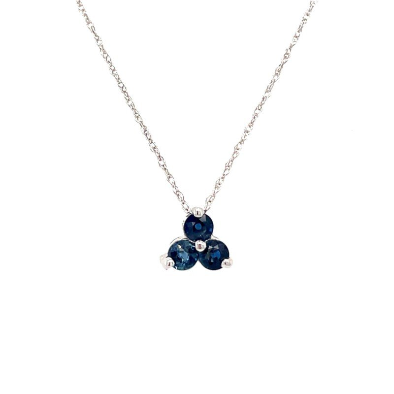 Lauray's Signature Collection White Gold Blue Sapphire Necklace