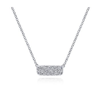 Rectangular Diamond Pendant Necklace