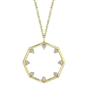 Yellow Gold Diamond Octagon Necklace