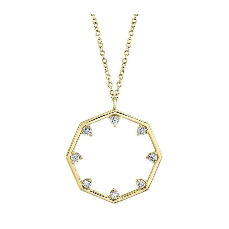 Shy Creation Yellow Gold Diamond Octagon Necklace