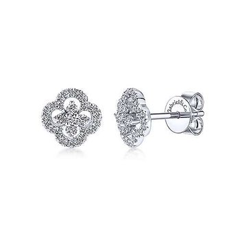 White Gold Clover Cutout Diamond Stud Earrings
