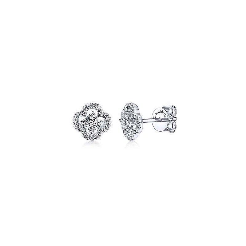 Gabriel & Co White Gold Clover Cutout Diamond Stud Earrings
