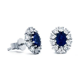 White Gold Blue Sapphire Earrings
