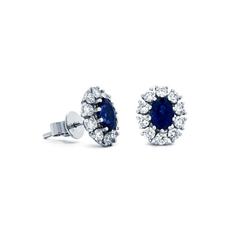 Lauray's Signature Collection White Gold Blue Sapphire Earrings