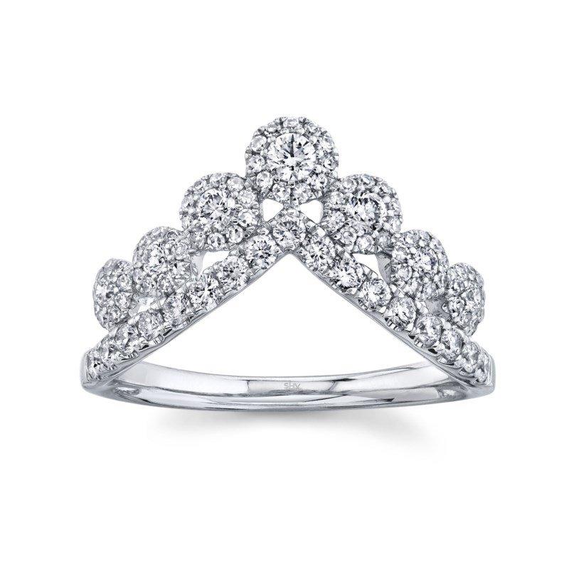 Shy Creation White Gold Diamond Crown Ring