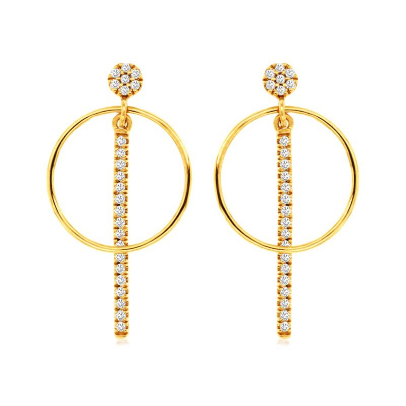 Lauray's Signature Collection Yellow Gold Diamond Dangle Earrings