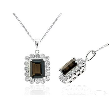 White Gold Smoky Topaz and Diamond Necklace