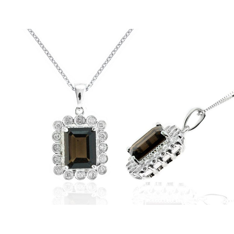 Lauray's Signature Collection White Gold Smoky Topaz and Diamond Necklace