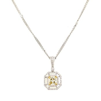 White Gold Yellow Diamond and Diamond Halo Necklace