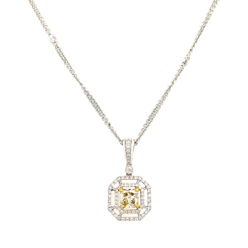 Lauray's Signature Collection White Gold Yellow Diamond and Diamond Halo Necklace