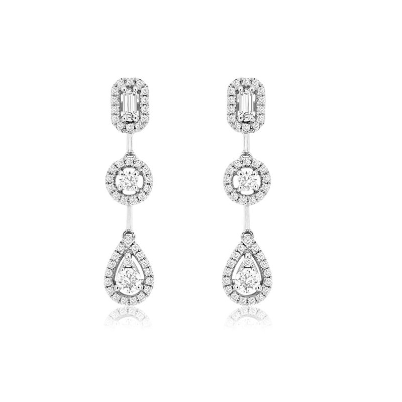 Lauray's Signature Collection White Gold Diamond Dangle Earrings